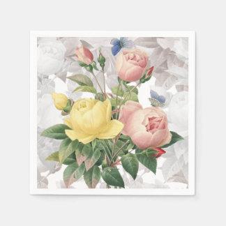 Vintage Rose Floral Bouquet Paper Napkins