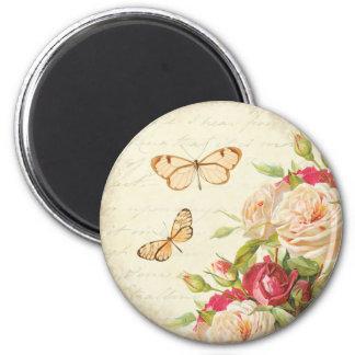 Vintage rose floral butterfly magnet
