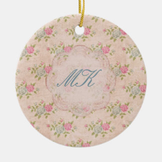 Vintage Rose Floral Ceramic Ornament