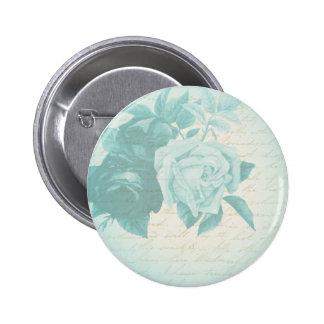 Vintage rose floral elegant button in blue