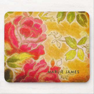 Vintage Rose Floral Feminine Watercolor With Name Mouse Pad