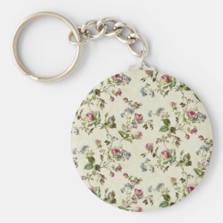 Vintage Rose  Floral Pattern Shabby chic Keychain