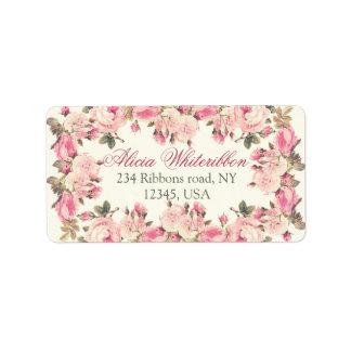 Vintage rose floral personalized address labels