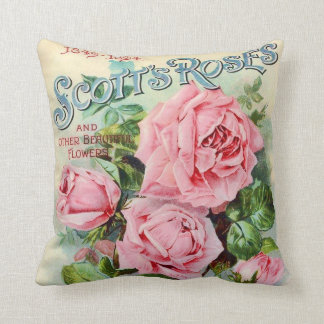 Vintage Rose Flower Catalogue Cover Illustration Throw Pillow