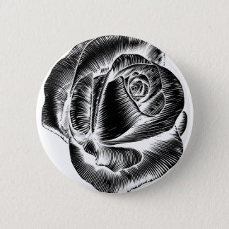 Vintage Rose Flower Etching Engraved Woodcut 2 Inch Round Button