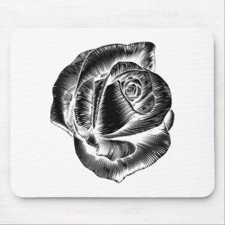 Vintage Rose Flower Etching Engraved Woodcut Mouse Pad
