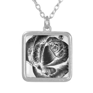 Vintage Rose Flower Etching Engraved Woodcut Silver Plated Necklace