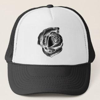 Vintage Rose Flower Etching Engraved Woodcut Trucker Hat