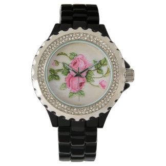 Vintage Rose Flower Tile Wristwatch