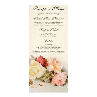 Vintage Rose Flowers, Floral Wedding Menu Card