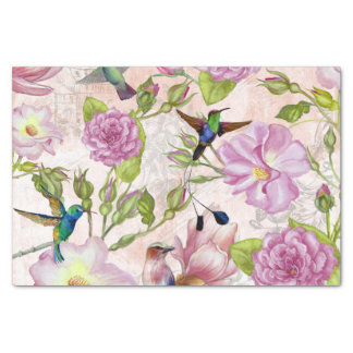 Vintage Rose Flowers & Hummingbirds pattern Tissue Paper