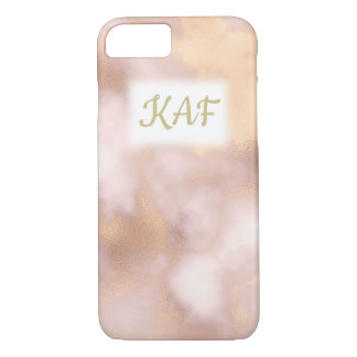 Vintage Rose Gold Marble Initials iPhone 8/7 Case