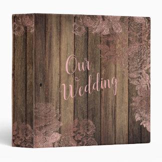 Vintage Rose Gold Wood Wedding Photo Album Binder