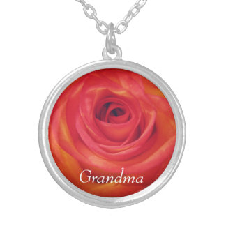 Vintage Rose Grandma Personalized Silver Plated Necklace