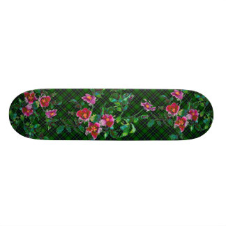 Vintage Rose - green plaid Skateboard Deck