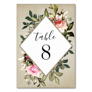 Vintage Rose Greenery Wedding Table Number Cards