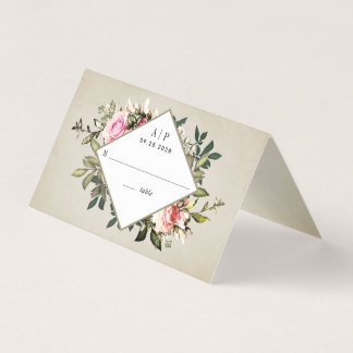Vintage Rose Greenery Wedding Tent Place Cards