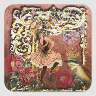 Vintage Rose Gypsy Dancer French Collage Square Sticker