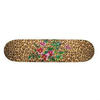 Vintage Rose - leopard print Custom Skateboard