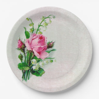 Vintage Rose Lily of the Valley Paper Plates 7""