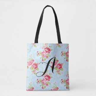 Vintage Rose Monogram Tote. Customizable Tote Bag