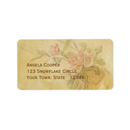Vintage Rose Parchment Label