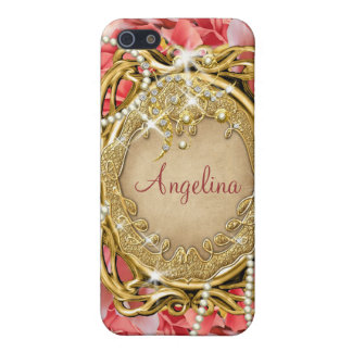 Vintage rose pearls sparkle name case for the iPhone 5