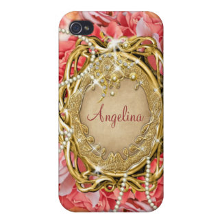 Vintage rose pearls sparkle name iPhone 4/4S case