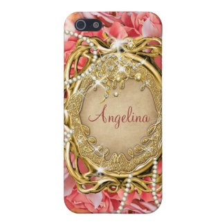Vintage rose pearls sparkle name iPhone 5 cases