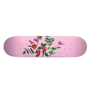 Vintage rose pink and white polka-dots skate board
