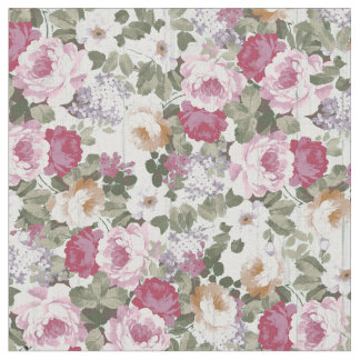 Vintage rose pink floral rustic white wood pattern fabric