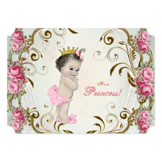 Vintage Rose Pink Green and Gold Baby Shower Personalized Invite