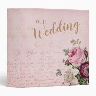 Vintage Rose Pink Letter Wedding Photo Album 3 Ring Binder