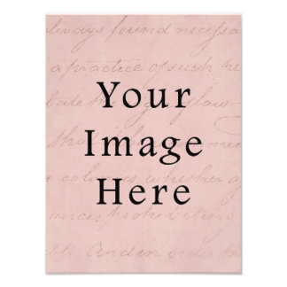 Vintage Rose Pink Script Text Parchment Paper Photo Print