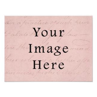 Vintage Rose Pink Script Text Parchment Paper Photograph