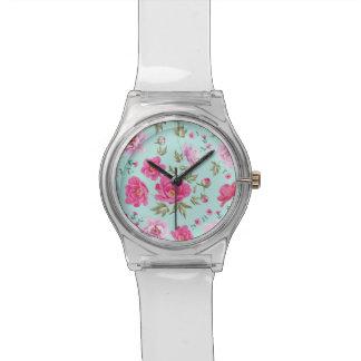 Vintage rose pink teal spring floral pattern wrist watches