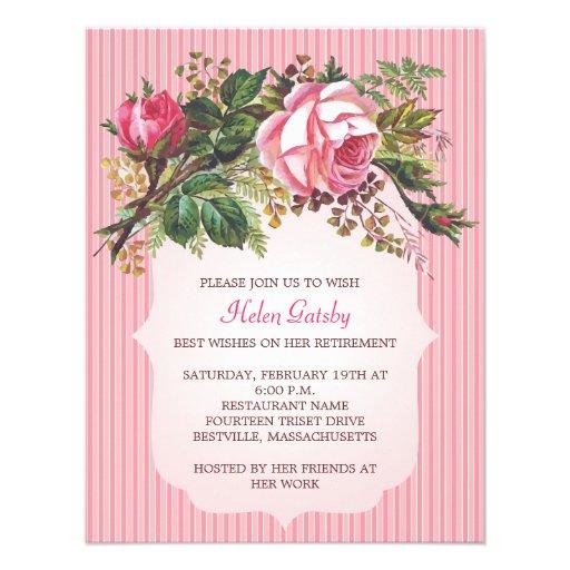 Vintage Rose Retirement Formal 4 25 Quot X 5 5 Quot Invitation
