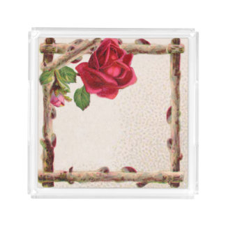 Vintage Rose Rustic Country Antique Flower Acrylic Tray