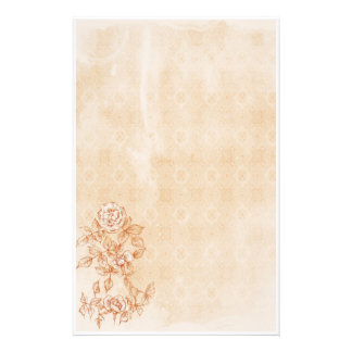 Vintage Rose Sepia Pen and Ink Flower Drawing Stationery