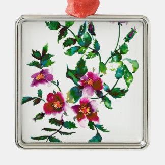 Vintage Rose Silver-Colored Square Ornament