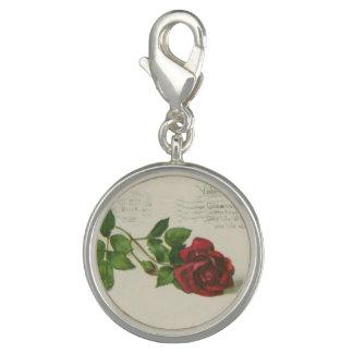Vintage rose stamp letter print Clip Charm