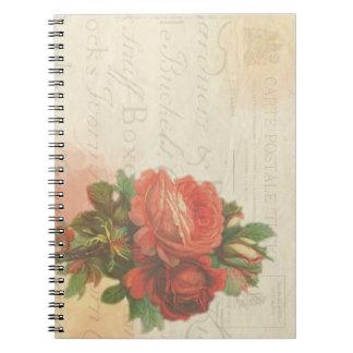 Vintage rose stationary notebook