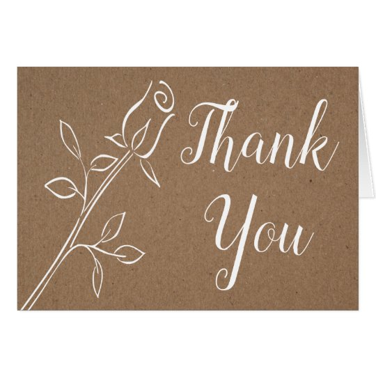 Vintage Rose Thank You Kraft Country Rustic Floral Card