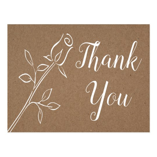 Vintage Rose Thank You Kraft Rustic Floral Wedding Postcard