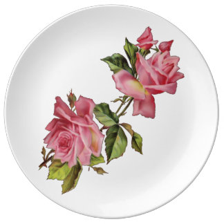"""Vintage """"Rose Vine"""" Plate Porcelain Plate"""