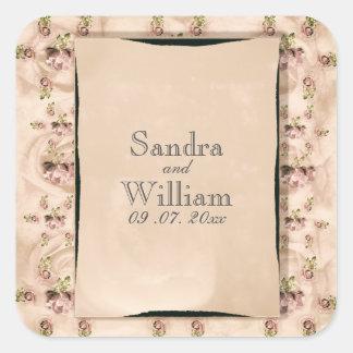 Vintage Rose Wedding Invitation Square Sticker