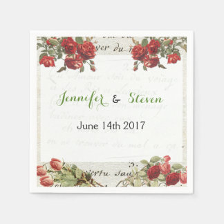 Vintage Rose Wedding Paper Napkins