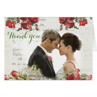 Vintage Rose Wedding Thank You Card