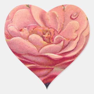 Vintage Rose White Background Heart Sticker