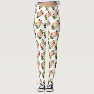 Vintage Rose White Leggings